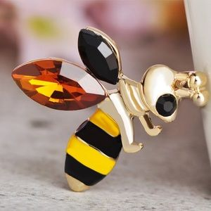 Jewelry - Black Yellow Bee Brooch with Crystals
